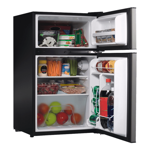 Galanz - Galanz 3.1 Cu Ft Top Mount Refrigerator in Stainless Steel Look