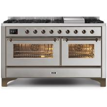 Majestic II 60 Inch Dual Fuel Natural Gas Freestanding Range in Stainless Steel with Bronze Trim