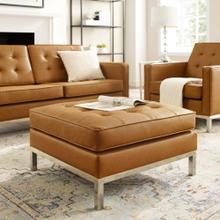 See Details - Loft Tufted Upholstered Faux Leather Ottoman in Silver Tan