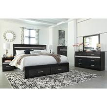 King Panel Bed With 2 Storage Drawers With Mirrored Dresser, Chest and Nightstand