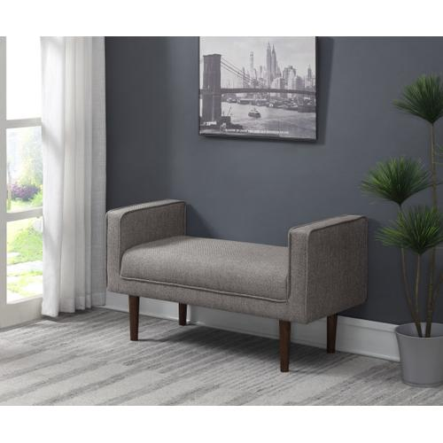 Upholstered Modern Arm Bench in Light Gray