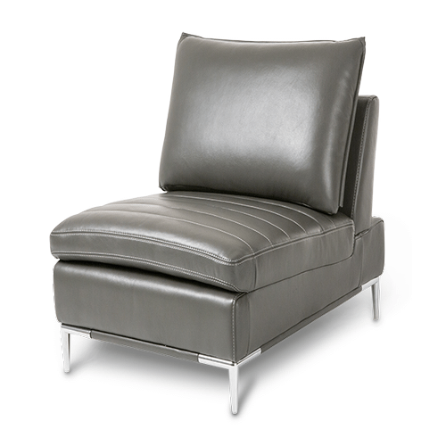Lazzio Leather Armless Chair in Graphite St.Steel