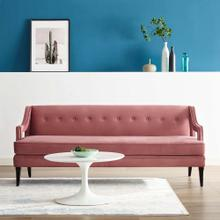 Concur Button Tufted Performance Velvet Sofa in Dusty Rose