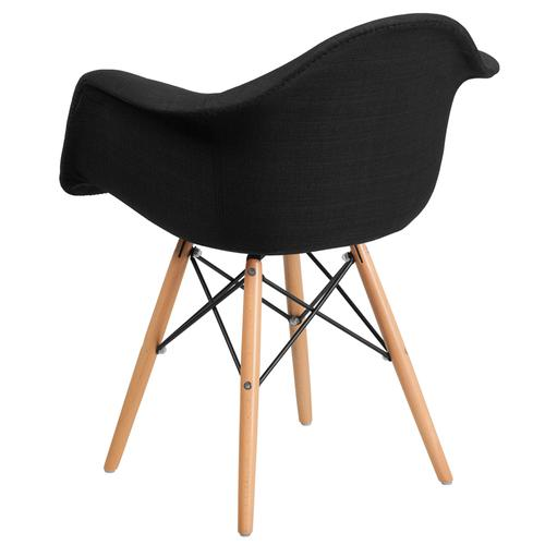 Alonza Series Genoa Black Fabric Chair with Wooden Legs