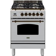 Nostalgie 24 Inch Dual Fuel Liquid Propane Freestanding Range in Stainless Steel with Bronze Trim