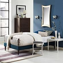 View Product - Tessie Twin Fabric Bed Frame with Squared Tapered Legs in Azure