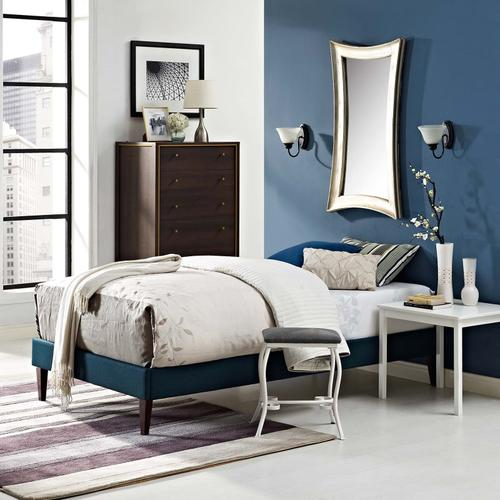 Modway - Tessie Twin Fabric Bed Frame with Squared Tapered Legs in Azure