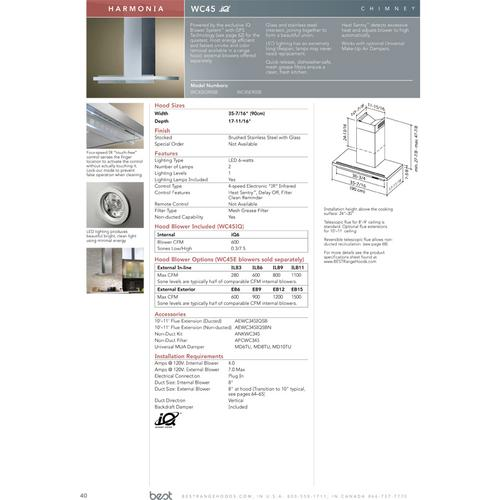 """Harmonia - 35-7/16"""" Stainless Steel Chimney Range Hood for use with a choice of Exterior or In-line blowers"""