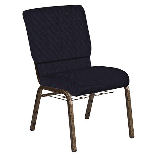 Flash Furniture - 18.5''W Church Chair in Mainframe Blazer Fabric with Book Rack - Gold Vein Frame