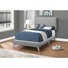 BED - TWIN SIZE / GREY LINEN WITH CHROME LEGS