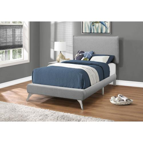 Gallery - BED - TWIN SIZE / GREY LINEN WITH CHROME LEGS