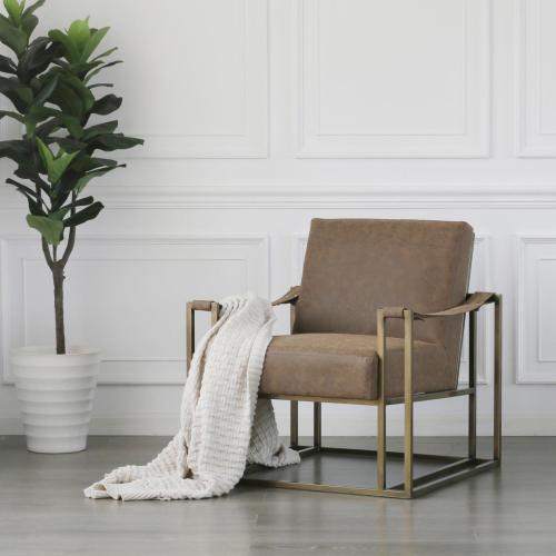 Esmond PU Arm Chair, Nubuck Chocolate