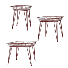 Distressed Red Square Basket Side Table (3 pc. set)