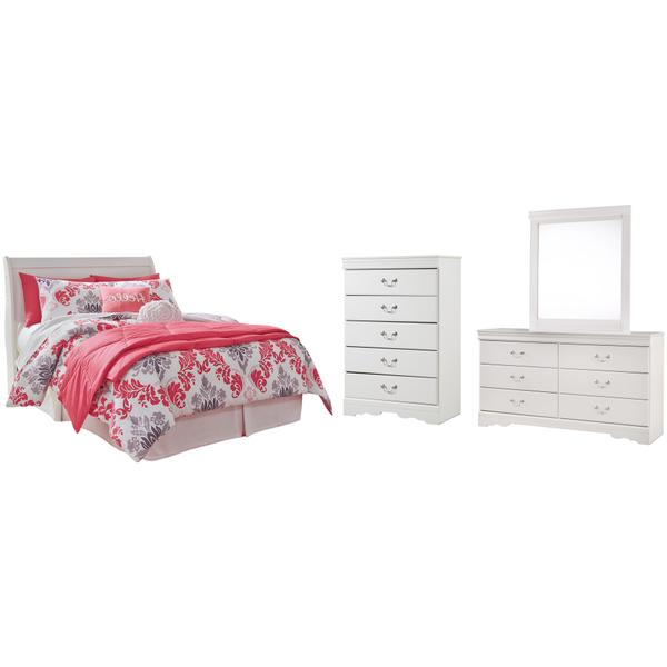 See Details - Full Sleigh Headboard With Mirrored Dresser and Chest