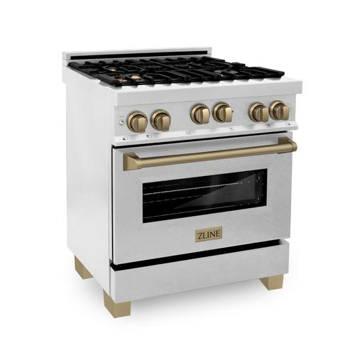 """Zline Kitchen and Bath - ZLINE 30"""" 4.0 cu. ft. Range with Gas Stove and Gas Oven in DuraSnow® Stainless Steel with Accents (RGSZ-SN-30) [Accent: Gold]"""