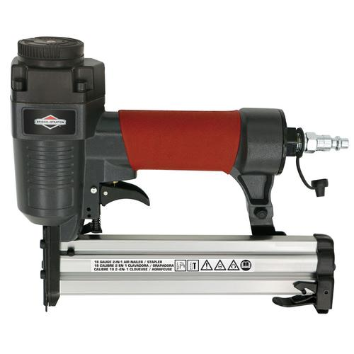 """Briggs and Stratton - 1-1/4"""" 18-Gauge 2-in-1 Brad Nailer/Stapler - The Ideal Tool for Putting Up Molding, Trim or Heavy Fabrics"""