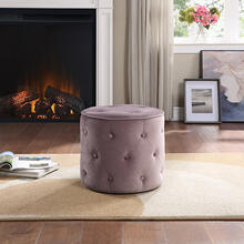 Curves Tufted Round Ottoman In Mauve Fabric