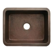 """Copperhaus rectangular undermount sink with a hammered texture and a 3 1/2"""" center drain - 14 gauge copper sink."""