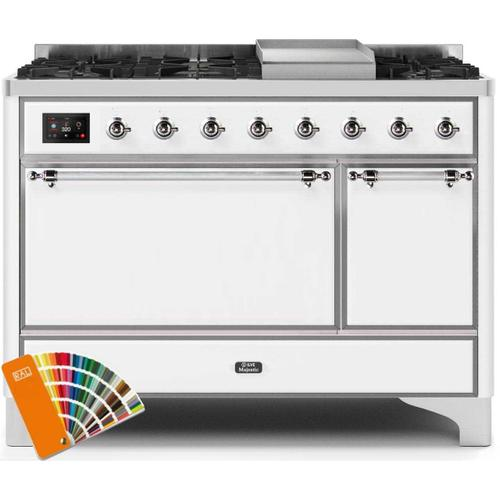 Product Image - Majestic II 48 Inch Dual Fuel Natural Gas Freestanding Range in Custom RAL Color with Chrome Trim
