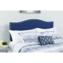 See Details - Lexington Upholstered Queen Size Headboard with Accent Nail Trim in Navy Fabric