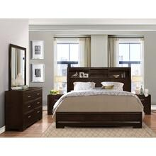 Montana 5-PC Walnut Modern Wood Bedroom Set King and Queen Bed Dresser&Mirror 2 Nightstands, King