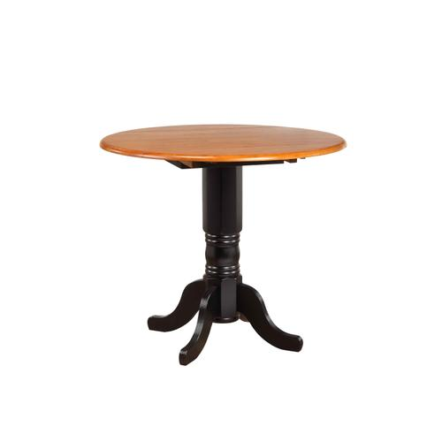 Round Drop Leaf Pub Table - Antique Black with Cherry Finish