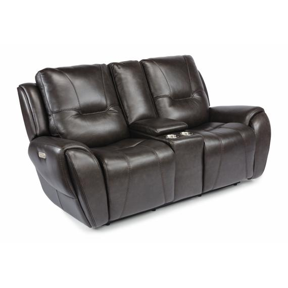 Flexsteel - Trip Power Reclining Loveseat with Console and Power Headrests