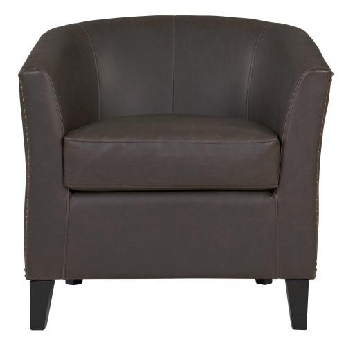 Orson Bonded Leather Tub Chair Black Legs, Vintage Dark Brown