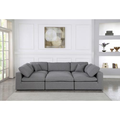 """Meridian Furniture - Serene Linen Deluxe Cloud Modular Down Filled Overstuffed Sectional - 119"""" W x 80"""" D x 32"""" H"""