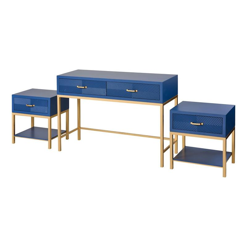 2 Drawer Console With Pair of Single Drawer Side Tables