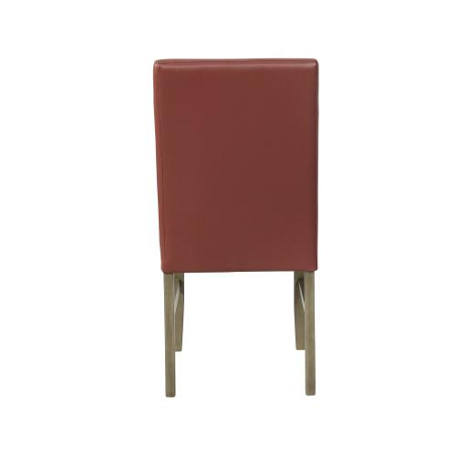 Upholstered Faux Leather Side Chair, Red and Grey