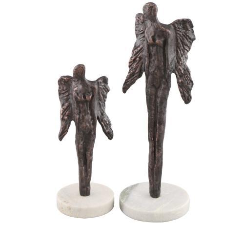Gabrielle Sculptural Guardian Angel Statues,Set of 2