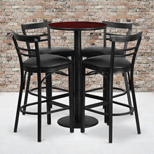 24'' Round Mahogany Laminate Table Set with Round Base and 4 Two-Slat Ladder Back Metal Barstools - Black Vinyl Seat