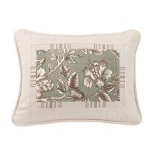 Gramercy Printed Oblong Pillow W/ Mitered White Striped Trim, 16x21
