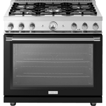"Range LA CUCINA 36"" Classic High Glossy Finishing Black 5 gas, gas oven"