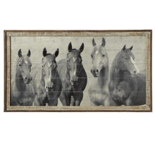 Framed Slat Horses Wall Decor