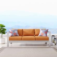 Shore Outdoor Patio Aluminum Sofa in Silver Orange