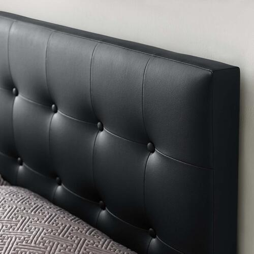 Emily Full Upholstered Vinyl Headboard in Black