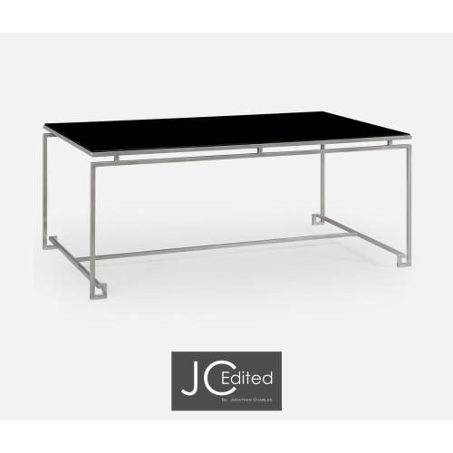 Silver Iron Rectangular Coffee Table with A Black Glass Top