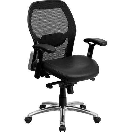 Flash Furniture - Mid-Back Black Super Mesh Executive Swivel Office Chair with LeatherSoft Seat, Knee Tilt Control and Adjustable Lumbar & Arms
