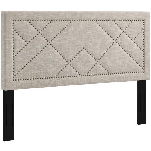 Reese Nailhead Full / Queen Upholstered Linen Fabric Headboard in Beige