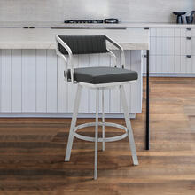 "Capri 26"" Counter Height Swivel Barstool with Brushed Stainless Steel Finish and Slate Grey Faux Leather"