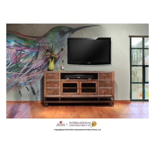 76in TV Stand w/2 Glass doors, 6 Drawers