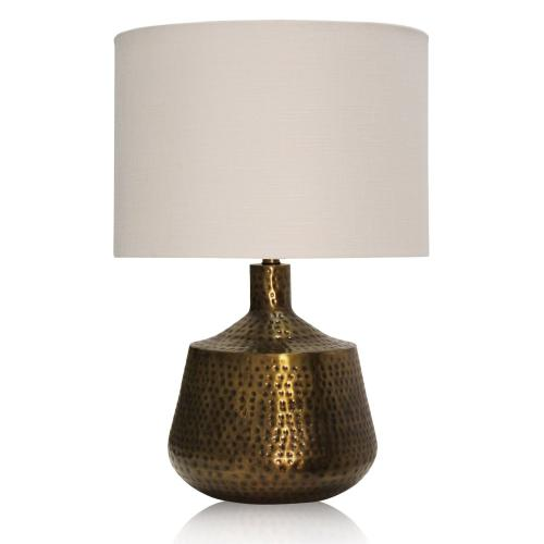 Antique Brass Embossed Design Metal Base Table Lamp Crafted in India with Hardback Shade