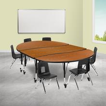 """Mobile 86"""" Oval Wave Collaborative Laminate Activity Table Set with 12"""" Student Stack Chairs, Oak\/Black"""