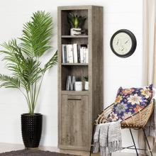3-Shelf Bookcase with Door - Weathered Oak