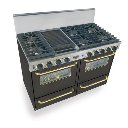 """Five Star - 48"""" All Gas, Convection, Sealed Burners, Black with Brass"""