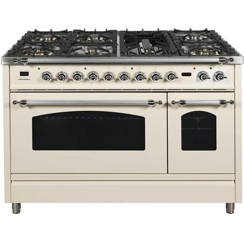 Nostalgie 48 Inch Dual Fuel Natural Gas Freestanding Range in Antique White with Chrome Trim