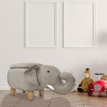 See Details - Critter Sitters 15-In Seat Height Tan Elephant Animal Shape Storage Ottoman Furniture for Nursery, Bedroom, Playroom, Living Room Decor, CSELESTOTT-TAN2
