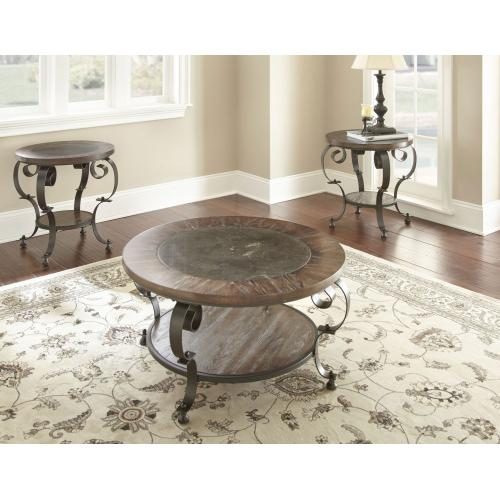 Mulberry Round Blue Stone End Table
